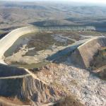 Aerial view of original Taum Sauk Reservoir after failure showing the 656 ft breach.