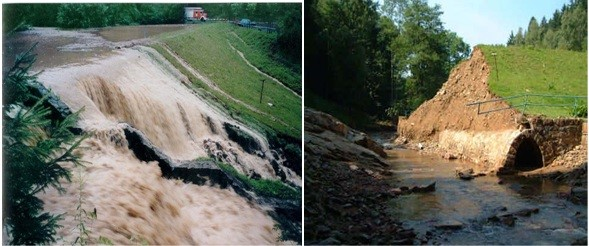 The figures above illustrates the overtopping of the Glashütte embankment dam on August 23, 2002 and the Dam breaking point with passage of underwater.