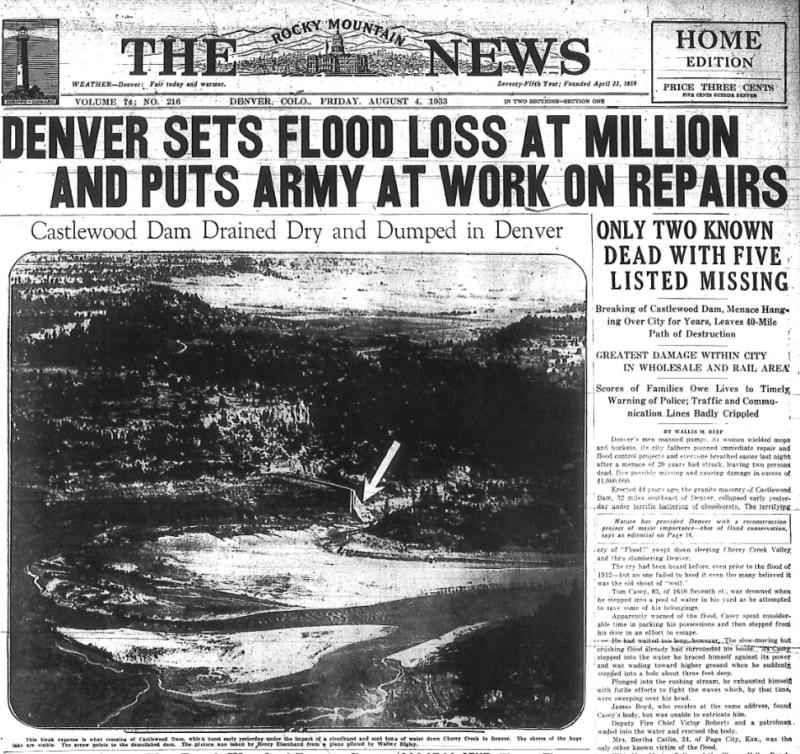 Denver News Flooding: Castlewood Canyon Dam (Colorado, 1933)